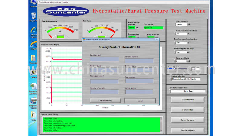 Suncenter long life pressure test application for flat pressure strength test
