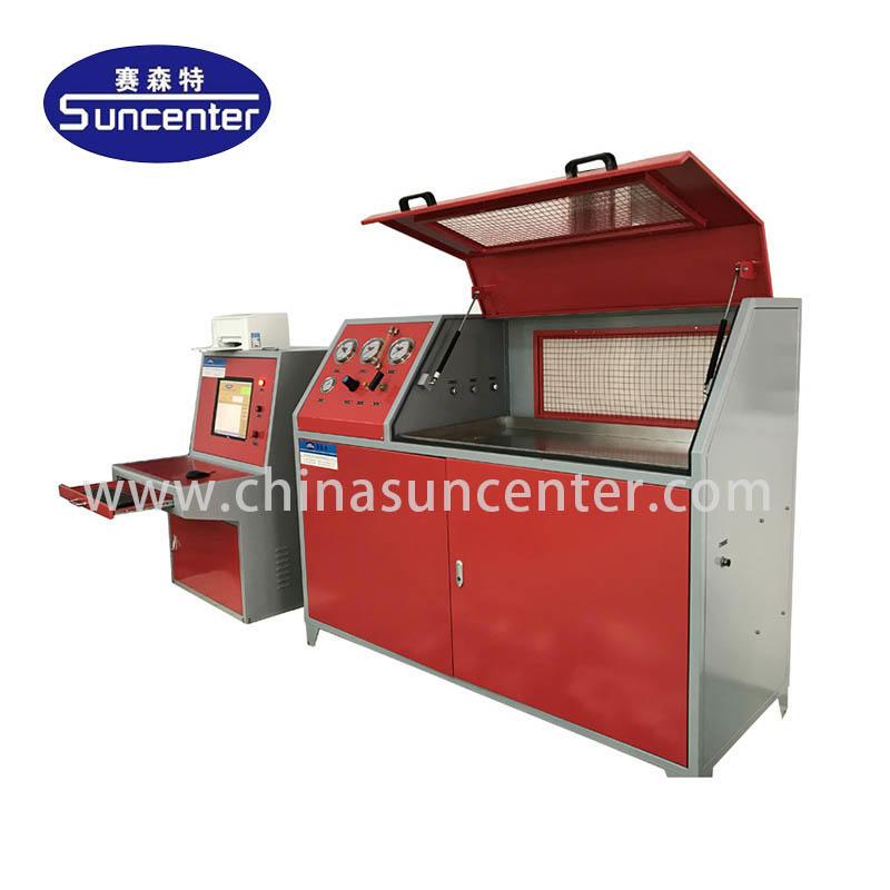 Hydraulic test machine with 10 bar-6000 bar pressure range